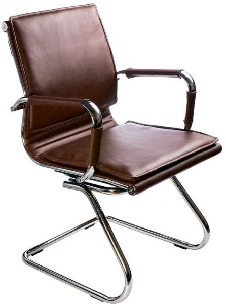 Кресло посетителя CH-993-Low-V коричневая иск. кожа хром полозья