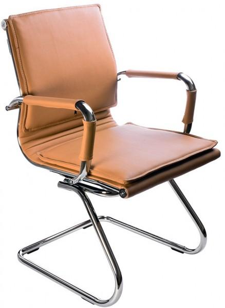 Кресло посетителя CH-993-Low-V светло-корич иск. кожа хром полозья