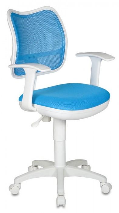 Кресло офисное CH-W797 белый пластик, светло-голубая сетка и ткань