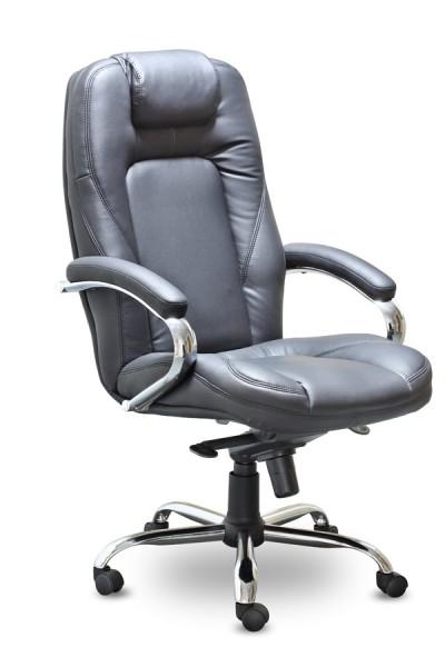 Кресло руководителя CH-400ch Arizona Chrome Аризона Хром кожа черная