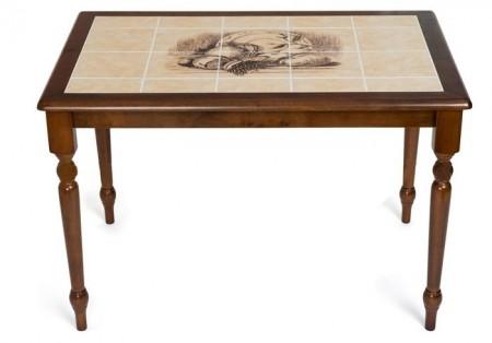 Стол обеденный CT 3045 с плиткой и рисунком Натюрморт, темный дуб
