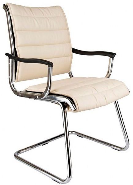 Кресло посетителя CH-994AV бежевая иск. кожа хром полозья