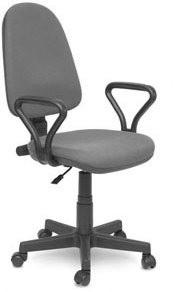 Кресло офисное Престиж ткань серая С-02, подлокотники Самба
