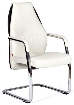 Кресло посетителя CHAIRMAN BASIC V экокожа белая на полозьях