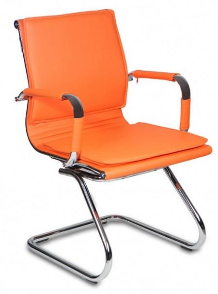 Кресло посетителя CH-993-Low-V оранжевая иск. кожа  хром полозья