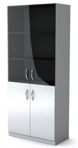 Шкаф широкий со стеклом Simple Симпл серый