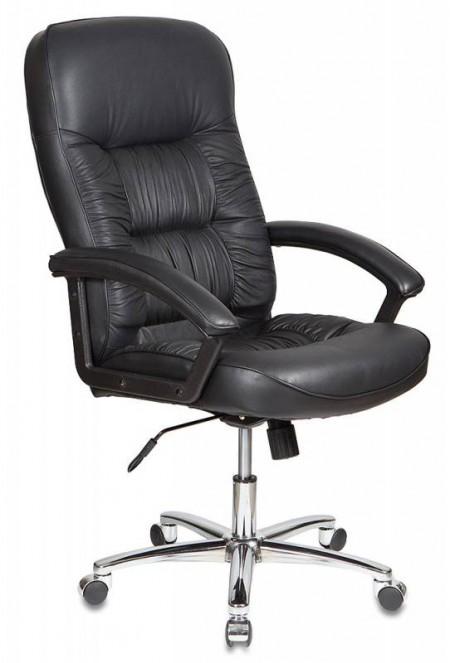 Кресло руководителя T-9908AXSN черная кожа, алюминевая основа