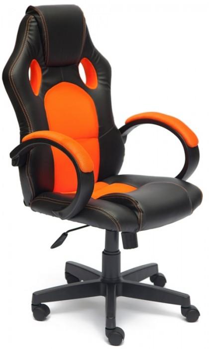 Кресло руководителя RACER GT Рейсер ДжиТи, экокожа черная, ткань оранжевая