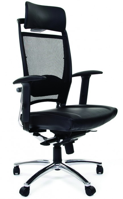 Кресло руководителя CHAIRMAN Ergo 281А хром кожа черная
