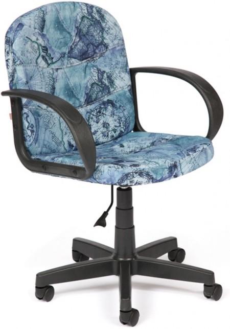 Кресло офисное BAGGI Багги ткань принт  карта на синем, пиастра