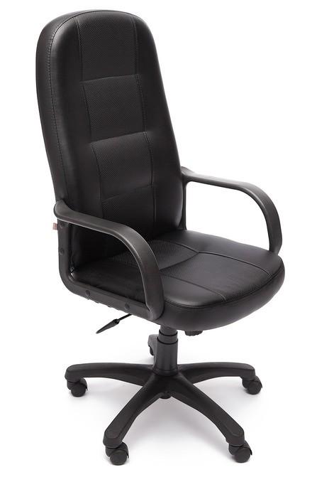 Кресло руководителя DEVON Девон экокожа с перфорацией черный