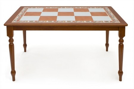 Стол обеденный Багдад CT 3550 коричнево-белая плитка, периметр - натюрморт, вишня