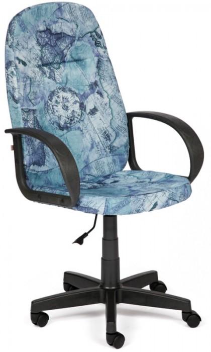 Кресло руководителя LEADER Лидер ткань Карта на синем