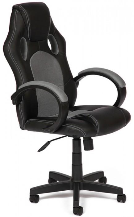 Кресло руководителя RACER GT Рейсер ДжиТи, экокожа черная, ткань серая