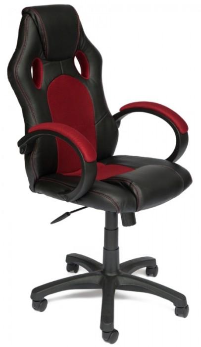 Кресло руководителя RACER GT Рейсер ДжиТи, экокожа черная, ткань бордо