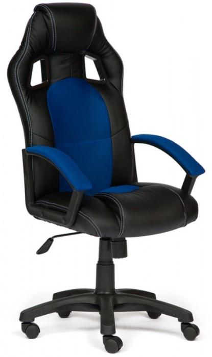 Кресло руководителя Driver Драйвер, экокожа черная, ткань синяя