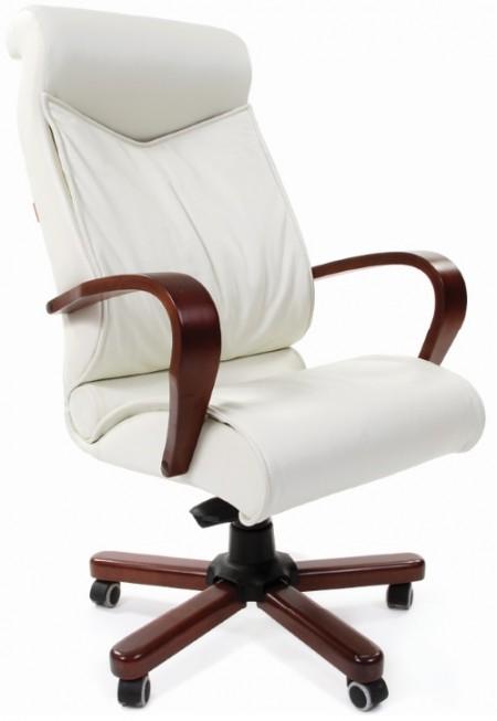 Кресло руководителя CHAIRMAN 420WD кожа бежевая, дерево темный орех