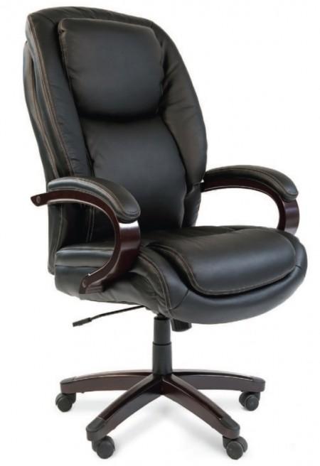 Кресло руководителя CHAIRMAN 408 кожа черная, дерево