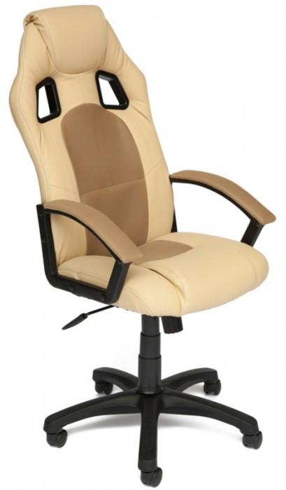 Кресло руководителя Driver Драйвер, экокожа бежевая, ткань бронза