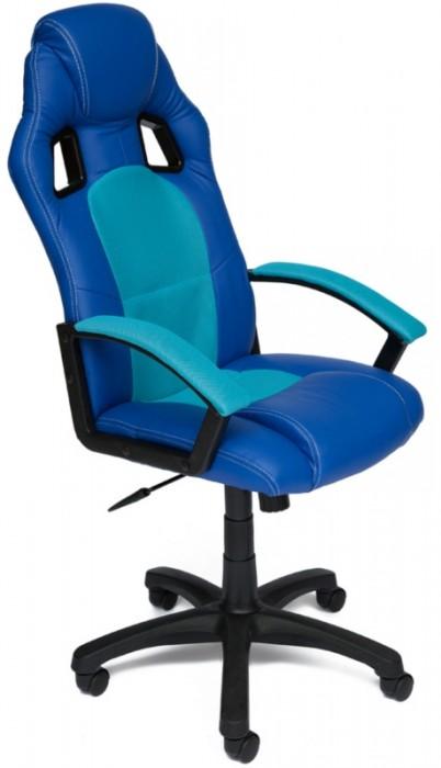 Кресло руководителя Driver Драйвер, экокожа синяя, ткань бирюза