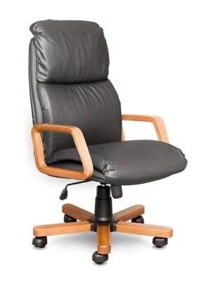 Кресло руководителя Nadir Надир черная кожа, дерево