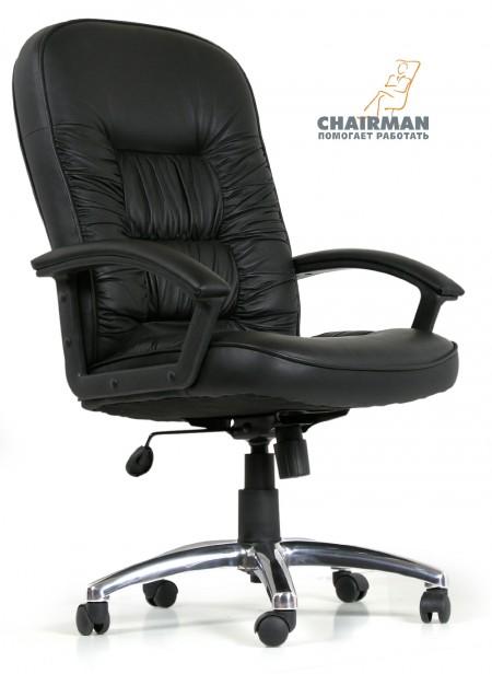 Кресло руководителя CHAIRMAN 418 кожа черная
