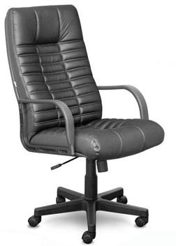 Кресло руководителя K44 Atlant Атлант кожа черная, пластик