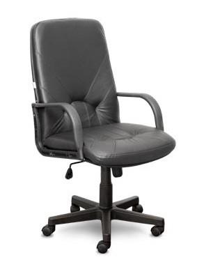 Кресло руководителя КОМО кожа черная, пластик