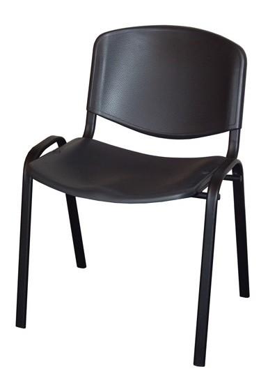 Стул для посетителя ИЗО черный каркас, пластик черный