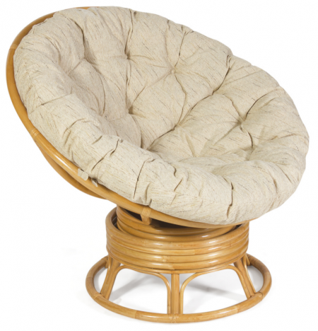Кресло-качалка из ротанга Papasan Папасан цвет мед + подушка