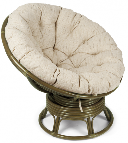 Кресло-качалка из ротанга Papasan Папасан цвет олива + подушка